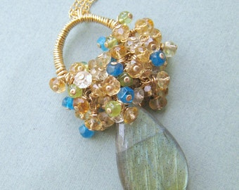 COUTURE Bouquet necklace - labradorite, gemstones & goldfilled