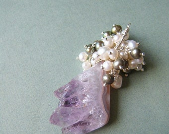 Imp - amethyst slice and cascading freshwater pearls pendant necklace