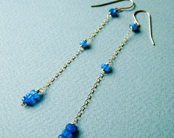 SIMPLICITY Peacock - electric blue apatite and goldfilled earrings