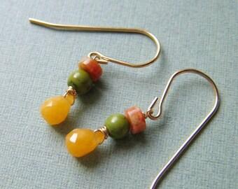 Wee - honey calcite, jade, jasper and goldfilled earrings