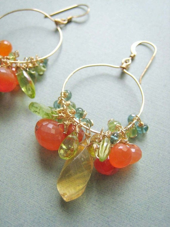 COUTURE Summer Afternoons - citrine, apatite, carnelian, peridot and goldfilled earrings