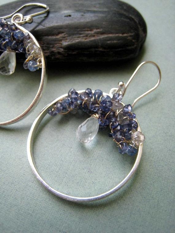 Hydrangea earrings - tanzanite, iolite, crystal quartz, goldfilled & sterling silver