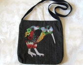Kiwi Bird Applique Shoulder Bag