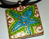 Key West STAR FISH whimsical ColorfuL Art Pendant Hand Painted