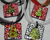 Christmas Jewelry TREE ART Pendant Hand Painted WEARABLE Choose from 4 Designs
