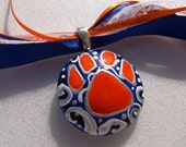 Auburn Tiger Jewelry Inspired  Hand Painted  Ceramic---Pendant Paw --- WAR EAGLE