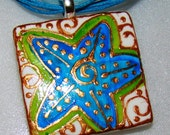 Star Fish  Pendant Ceramic Hand Painted WEARABLE ART