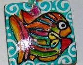 Tropical Fish Pendant Hand Painted Wear Art Jewelry -- ceramic