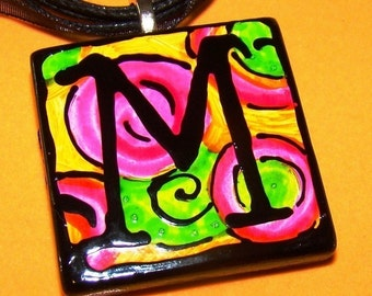 Initial Ceramic PENDANT Jewlery WEARABLE ART Hand Painted