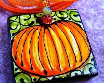 Pumpkin Pendant JEWELRY BEAD Ceramic ART Hand painted