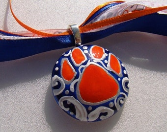 Auburn  Jewelry Tiger Inspired  Hand Painted  Ceramic---Pendant Paw --- WAR EAGLE