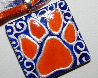 Auburn Tiger Jewelry  Inspired Hand Painted  Ceramic Pendant Paw  WAR EAGLE