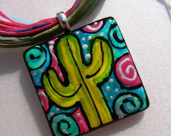 Cactus Jewelry Pendant Hand Painted Wear the Art  -- ceramic bead