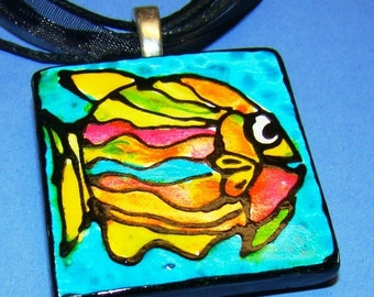 Tropical Fish  Jewelry Beach tHeMe Pendant Hand Painted Wear Art Jewelry -- ceramic Resort wear
