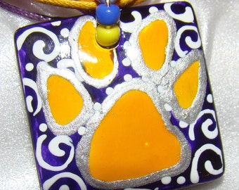 LSU Tigers Jewelry pendant Inspired  Hand Painted Artist handmade