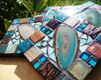 Handmade Mosaic Coasters turquoise Agate Rich chocolate browns colors metallic italian glass tile