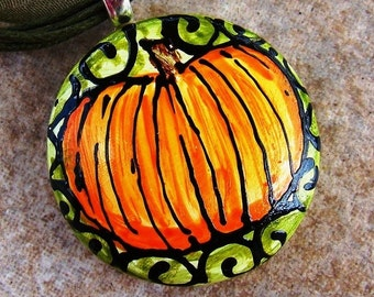 Pumpkin Jewelry Pendant  Handpainted necklace bead