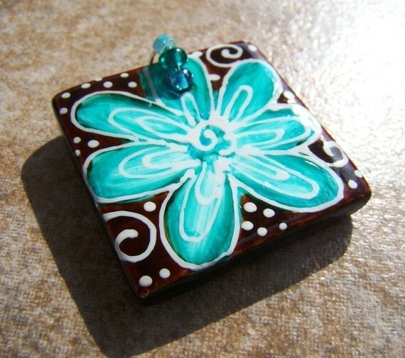 ART Pendant Hand Painted Ceramic bead  FLOWER Chocolate and Turquoise