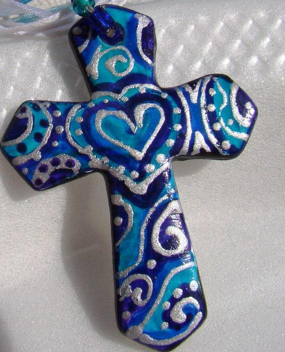 Cross ART Pendant Hand Painted Jewelry Blue Beaded