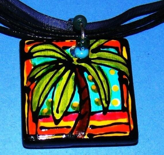Palm Tree Pendant Jewelry Hand Painted WEARABLE Art  custom made