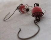 Emily Rose Flower Handmade Earrings - Pink