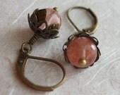 Cherry Quartz Gemstone and Brass Earrings