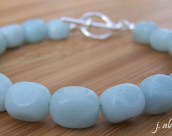 Amazonite Bracelet. Blue Green Bracelet. Natural Gemstone Bracelet. Pebble Bracelet