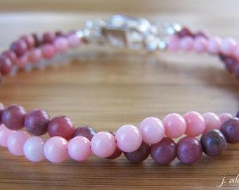 Multistrand Bracelet. Pink Coral Bracelet. Pink Rhodonite Bracelet. Pink Bracelet. Pink Bridesmaid Bracelet