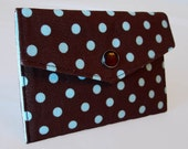 Business Card or Gift Card Holder Wallet-Retro Blue Dots on Brown (Ready to Ship)