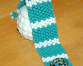 Turquoise and White Peyote Bracelet Vintage Button Clasp