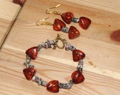 Red Pyramid Bracelet and Earrings Set