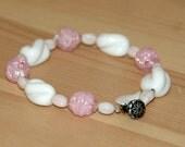 Vintage Bead Pink and White Bracelet