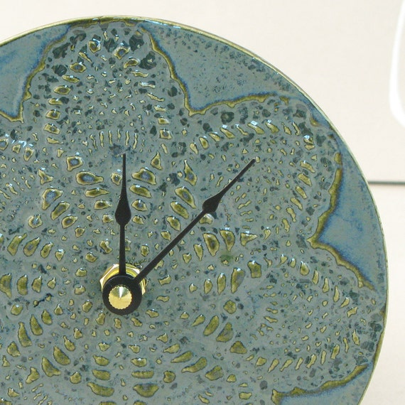 Stitch in Time Too Ceramic  Wall Clock in Smoky Blue