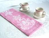linen tea towel. blossom pink