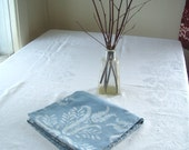 small thistles tablecloth. pale slate blue