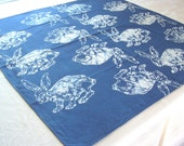 cotton scarf. bunnies with lapis blue