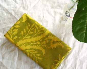 olive and chartreuse towel