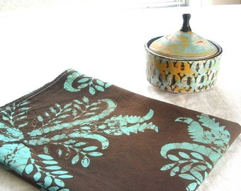 chocolate and jade floursack towel