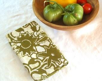 olive green trellis floursack