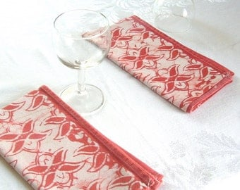 pair of dinner napkins. rose red. made to order