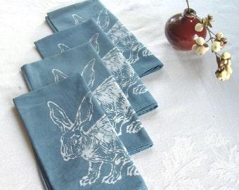 blue bunny napkins. set of four. made to order