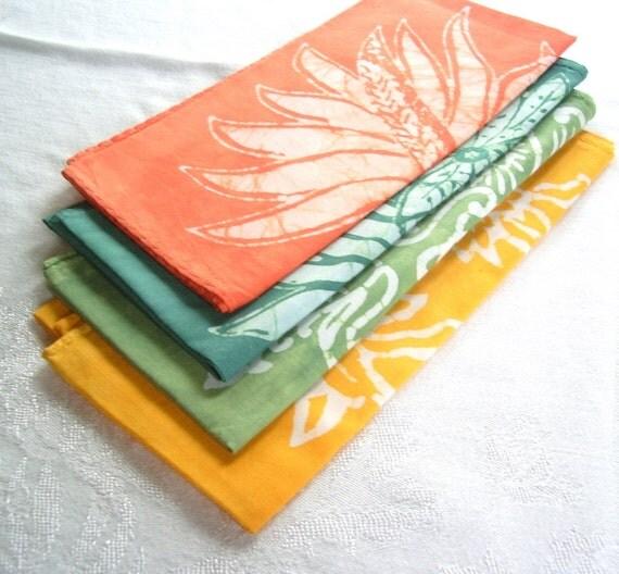 eclectic batik napkin set. calypso palette