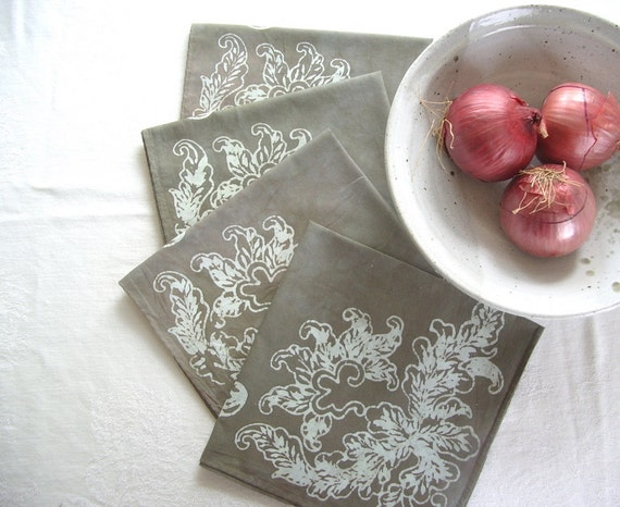 scrolls napkins. made to order in warm gray