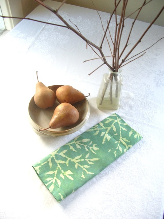 linen tea towel. bamboo print in two toned pale greens