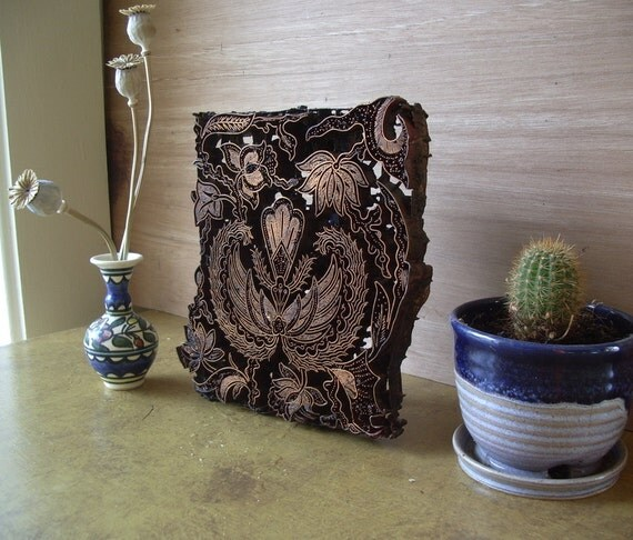 copper batik stamp. double wings and flowers motif