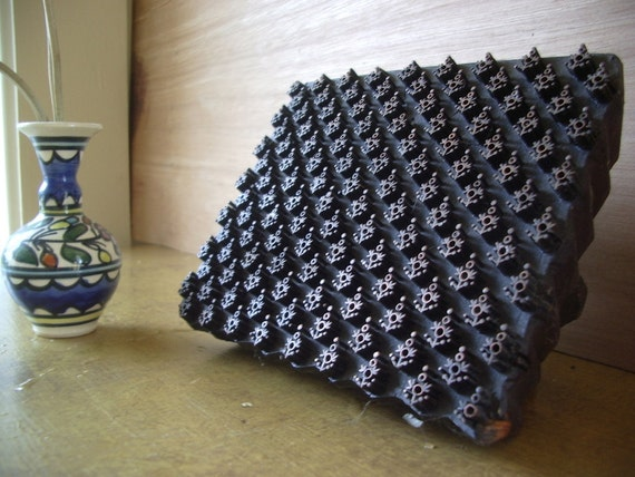 textile stamp. polka dot flowers