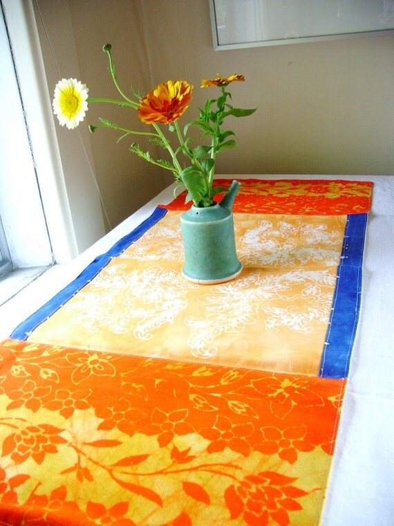 organic hand printed table runner. summer colors
