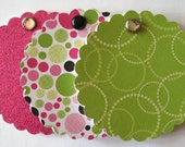Mini Notepads - Glitter Pinks and Greens Scalloped Circle - Set of 3