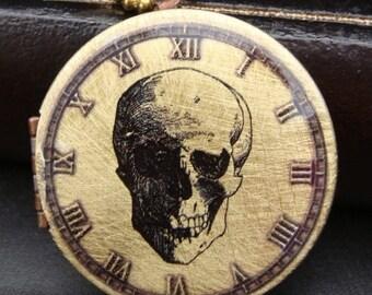Brass Skull Locket Necklace