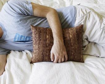 Faux Bois Decorative Woodgrain Pillow in Brown and Tan